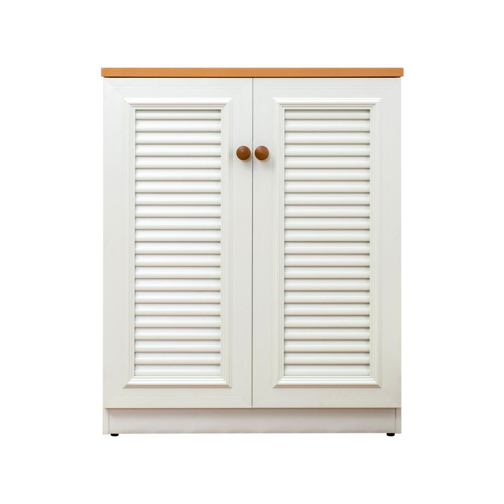 2.7尺二門塑鋼百葉鞋櫃 (白+木紋)